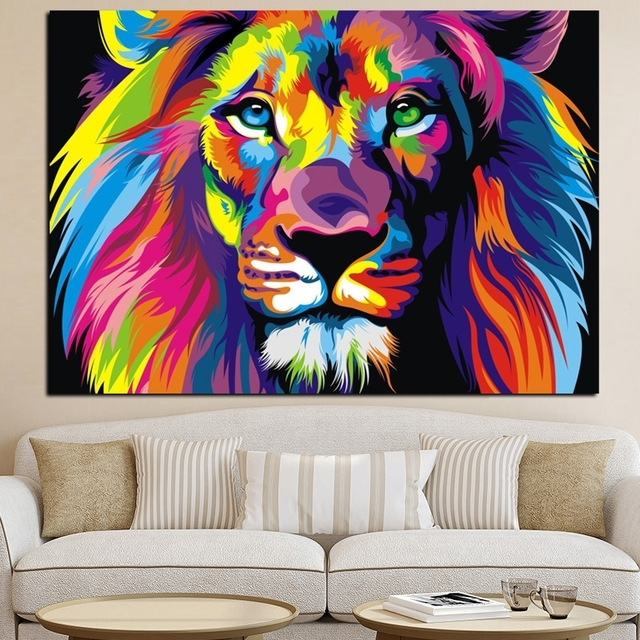 Pop Art Hd Print Colorful Lion Animals Abstract Oil Painting On With Abstract Lion Wall Art (Image 14 of 15)