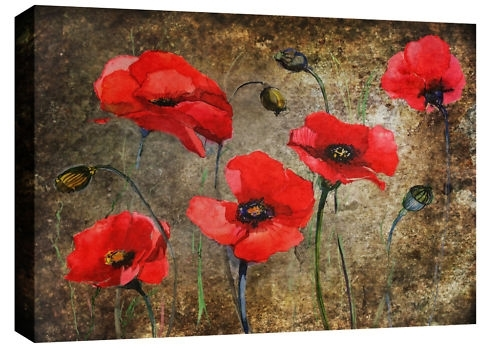 Poppies Print In Red On Brown Mottled Grunge Abstract Background In Poppies Canvas Wall Art (View 4 of 15)