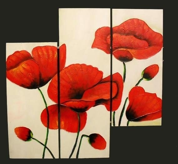 Poppy Canvas Wall Art 3 Piece Abstract Modern Canvas Wall Art Inside Poppies Canvas Wall Art (Image 10 of 15)