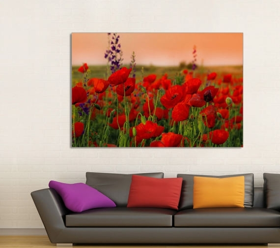 Poppy Field Poppy Canvas Prints Red Poppy Field Home Decor In Red Canvas Wall Art (Image 10 of 15)