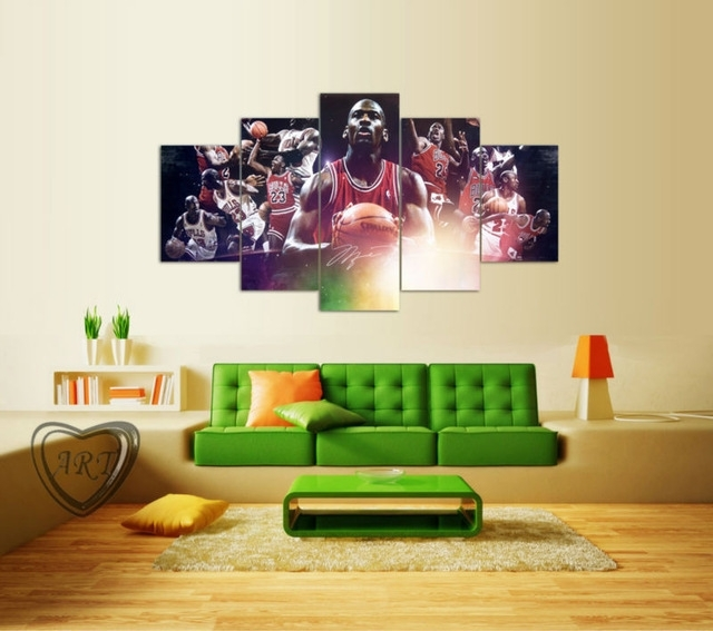 Popular Film Poster Michael Jordan Painting 5 Piece Canvas Art For Michael Jordan Canvas Wall Art (View 10 of 15)