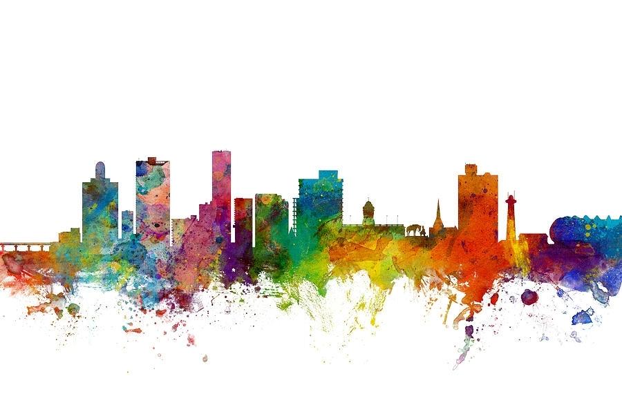 Port Elizabeth South Africa Skyline Digital Artmichael Tompsett With Port Elizabeth Canvas Wall Art (View 1 of 15)