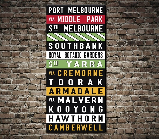 Port Melbourne Coloured Tram Scroll – Canvas Prints Australia Pertaining To Melbourne Canvas Wall Art (View 7 of 15)