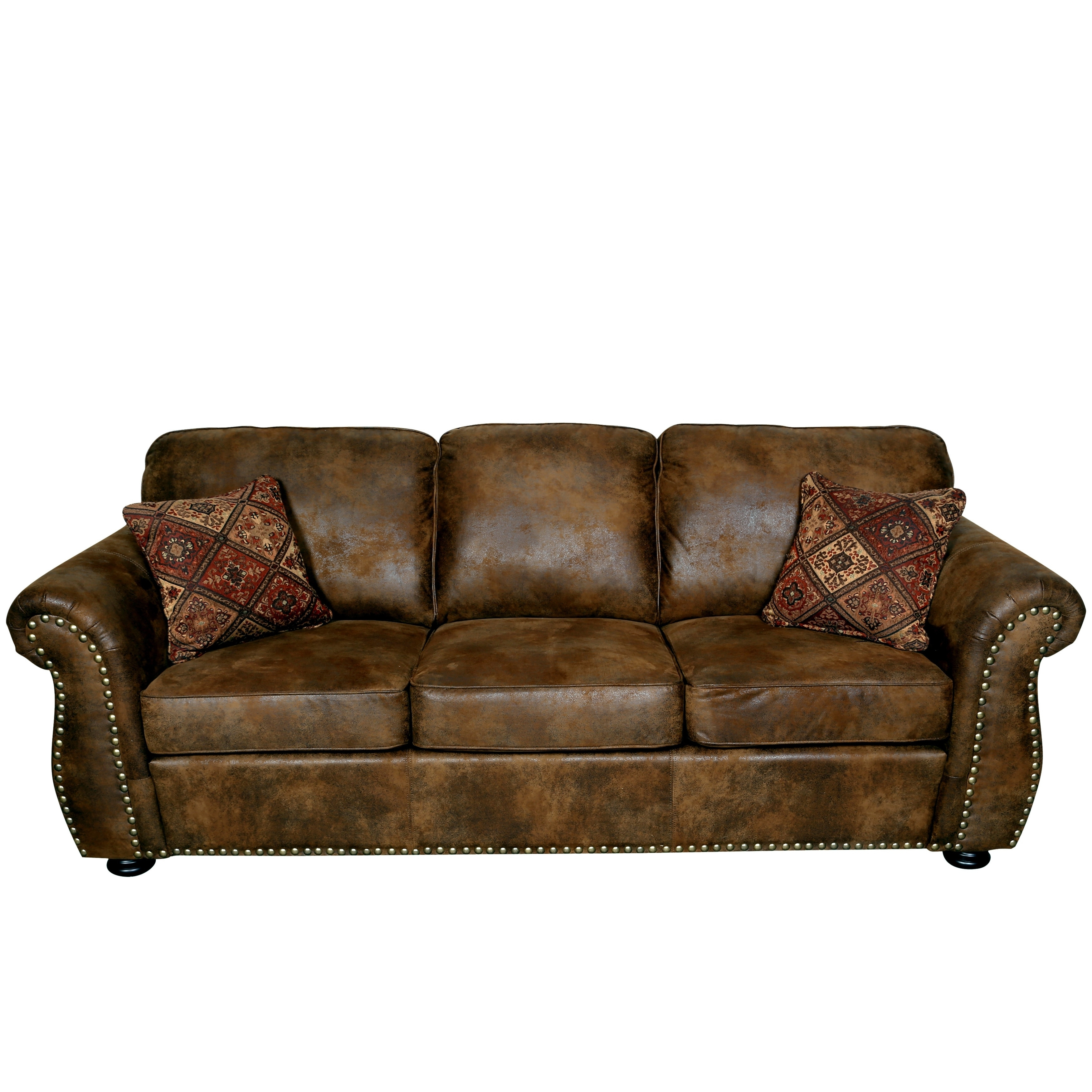 Porter Elk River Brown Microfiber Faux Suede Leather Sofa With 2 With Regard To Faux Suede Sofas (Image 7 of 10)