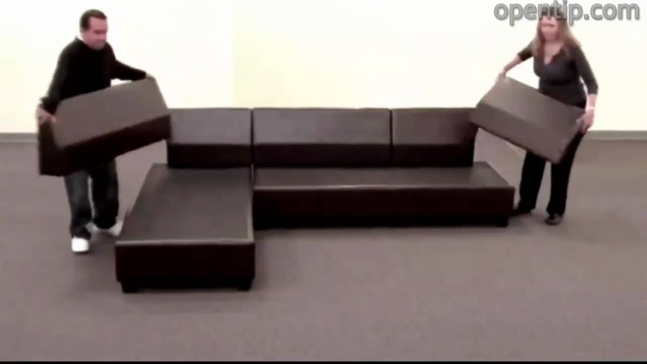 Poundex 3Pcs Hungtinton Sectional Sofa Set (Ottoman Reversible) From Regarding Sectional Sofas That Come In Pieces (View 3 of 10)