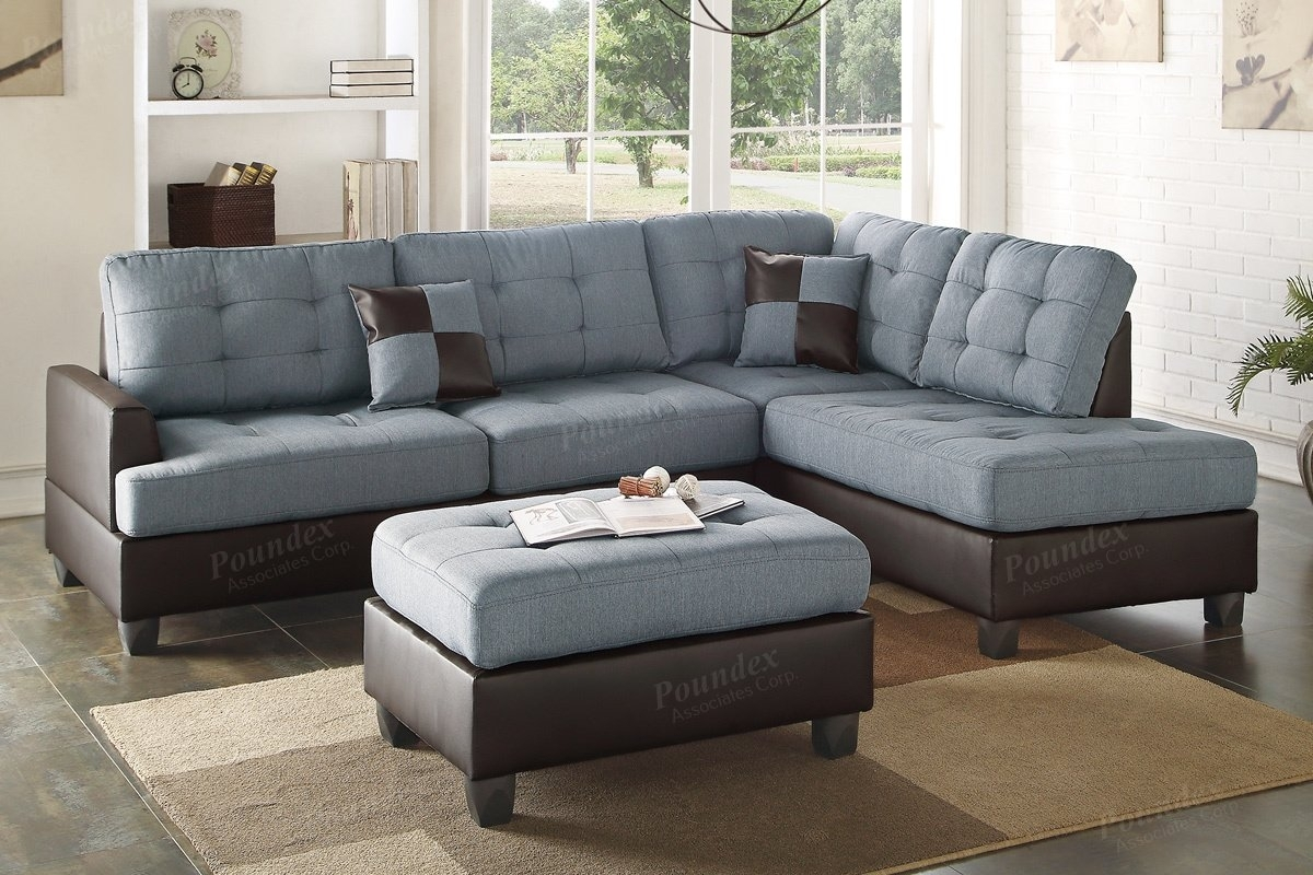 Poundex Bobkona Matthew Reversible Sectional With Ottoman & Reviews Pertaining To Sectionals With Ottoman (Image 7 of 10)