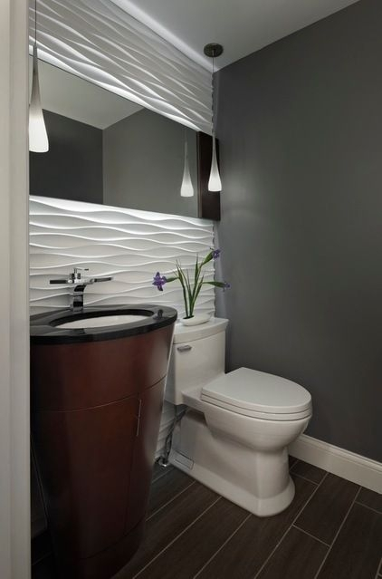 Powder Room With A Gorgeous Accent Wall (Image 10 of 15)