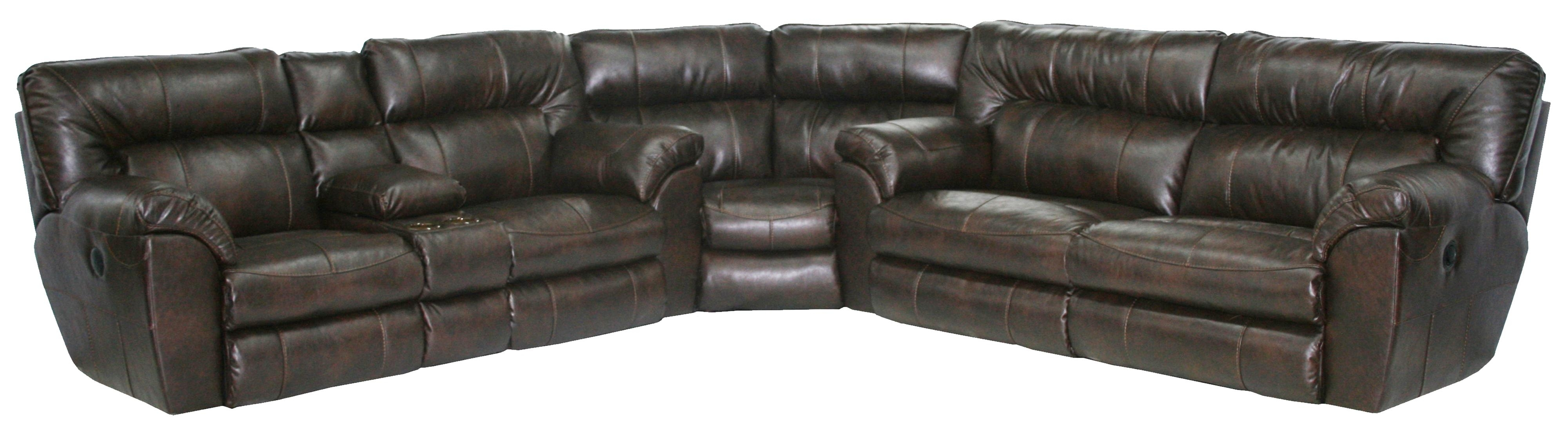 Power Reclining Sectional Sofa With Left Consolecatnapper | Wolf Throughout Sectional Sofas With Consoles (Image 4 of 10)
