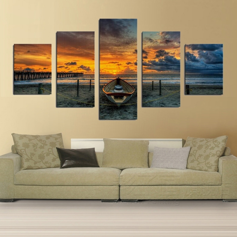 Print Art Canvas Painting 5 Piece Large Hd Seaview Boat For Living For Living Room Canvas Wall Art (View 15 of 15)