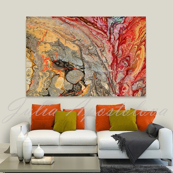 Print On Canvas, Abstract Painting, Red And Gold, Colorful Wall With Abstract Living Room Wall Art (Image 12 of 15)