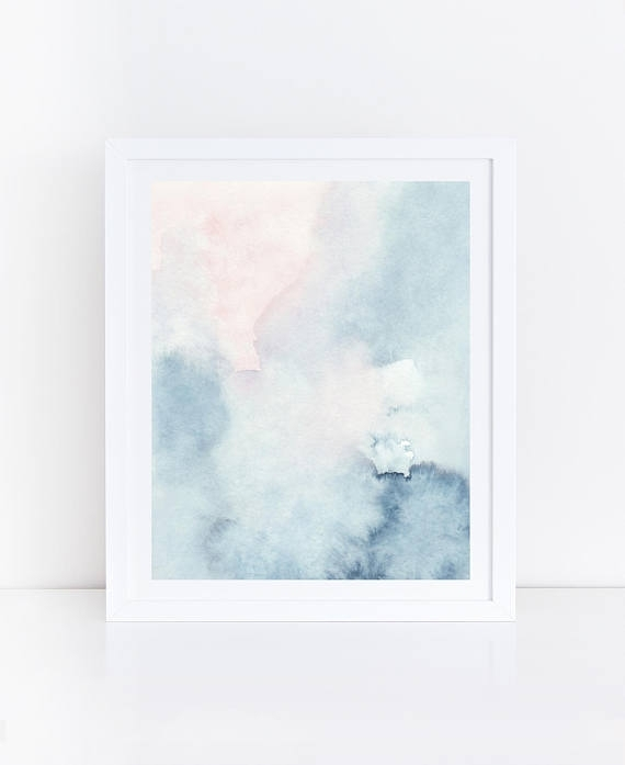 Printable Abstract Art Watercolor Wall Art Sky Print Blue Intended For Pastel Abstract Wall Art (Image 13 of 15)