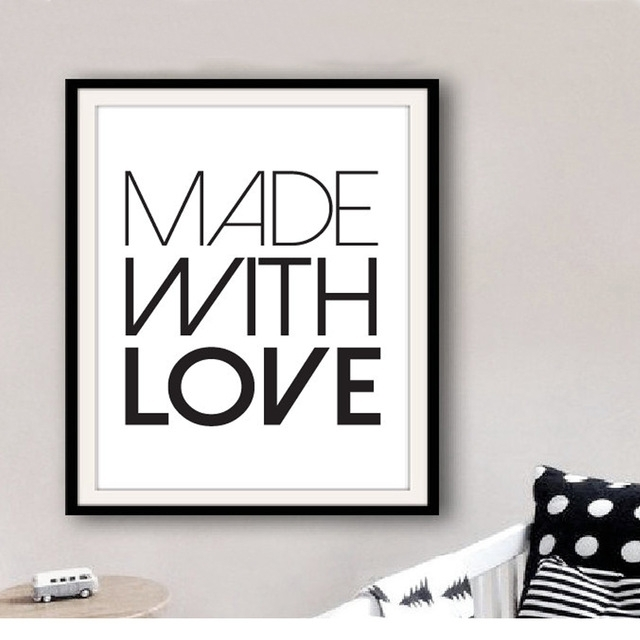 Printable Made With Love Art Quotes Print Canvas Wall Art Modern Regarding Modern Nursery Canvas Wall Art (View 14 of 15)