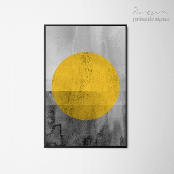Printable Scandinavian Print Scandinavian Poster Yellow Grey Intended For Yellow And Grey Abstract Wall Art (View 8 of 15)