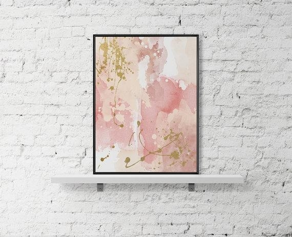 Printable Wall Art Pastel Print Abstract Paint Watercolor Poster In Pink Abstract Wall Art (View 1 of 15)