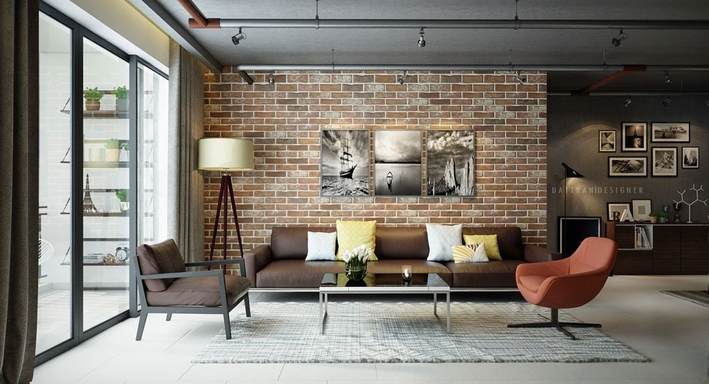 Prodigious Polished Use Of Exposed Brick Accent Wall Ideas With Inside Brown Furniture Wall Accents (View 13 of 15)