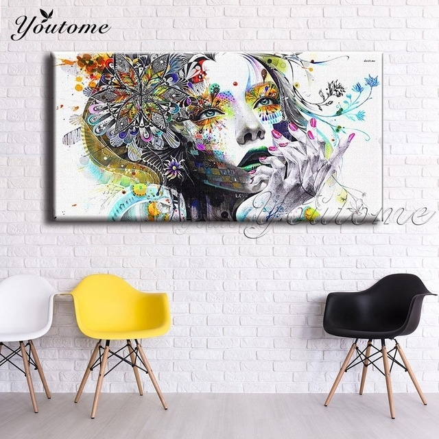 Psychedelic Fabric Girl Modern Wall Art Girl With Flowers Painting In Wall Art Fabric Prints (View 15 of 15)