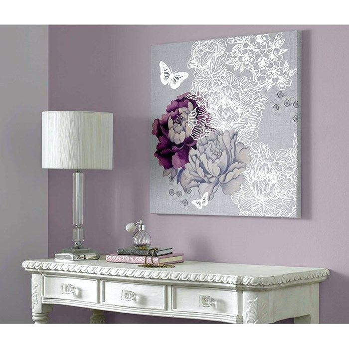 Purple And Gray Wall Art – Boyintransit Inside Butterflies Canvas Wall Art (Image 11 of 15)