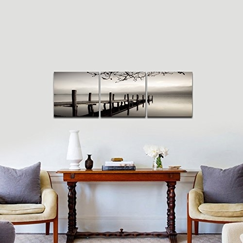 Pyradecor Peace 3 Panels Black And White Landscape Giclee Canvas Pertaining To Bedroom Canvas Wall Art (Image 26 of 32)