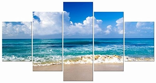 Pyradecor Seaside Sea Beach Modern Stretched And Framed Seascape 5 Throughout Beach Canvas Wall Art (View 2 of 15)