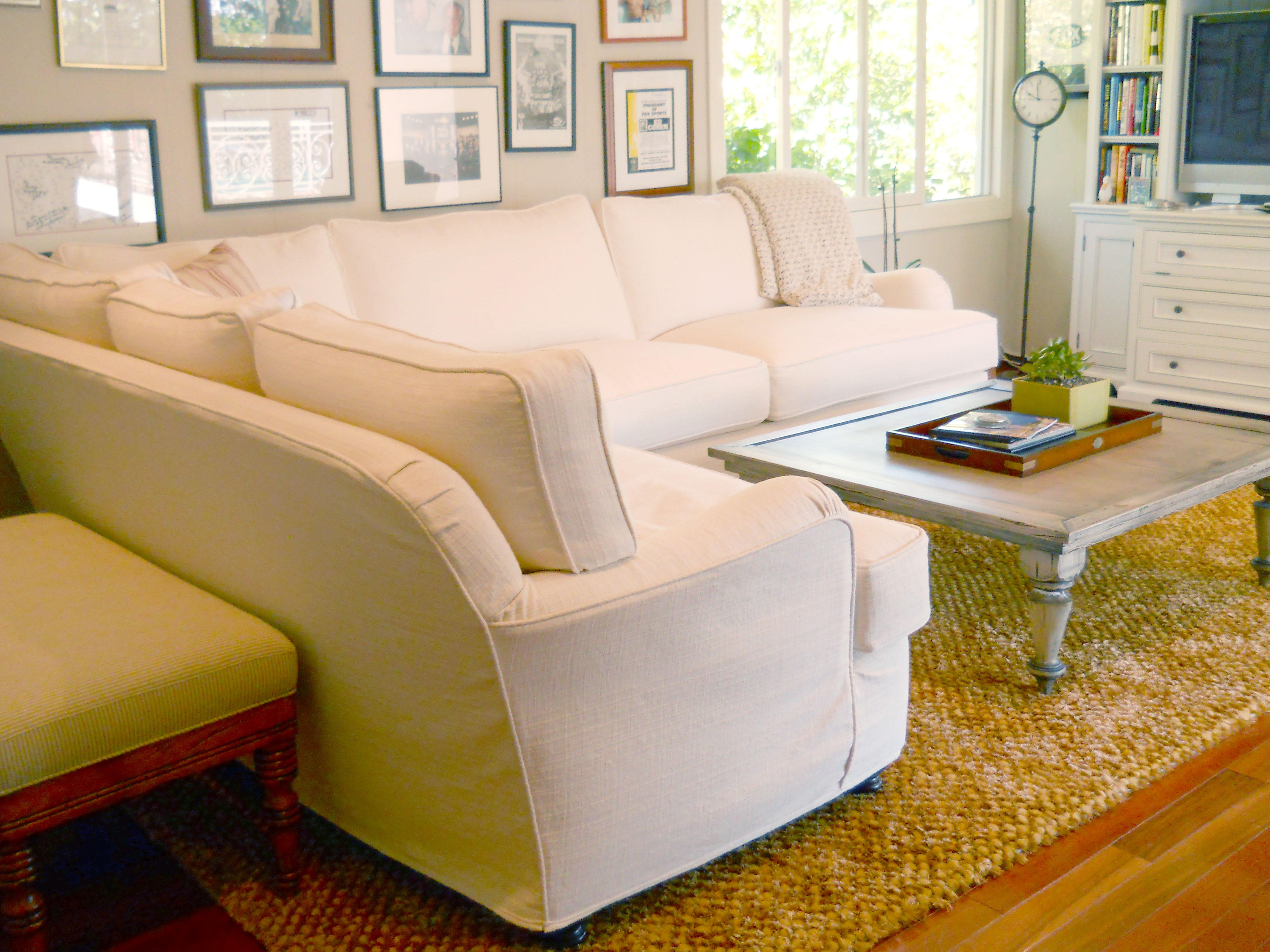 Quatrine Ivory Slipcovered Modern Milan Sectional And Distressed Within Quatrine Sectional Sofas (Image 6 of 10)