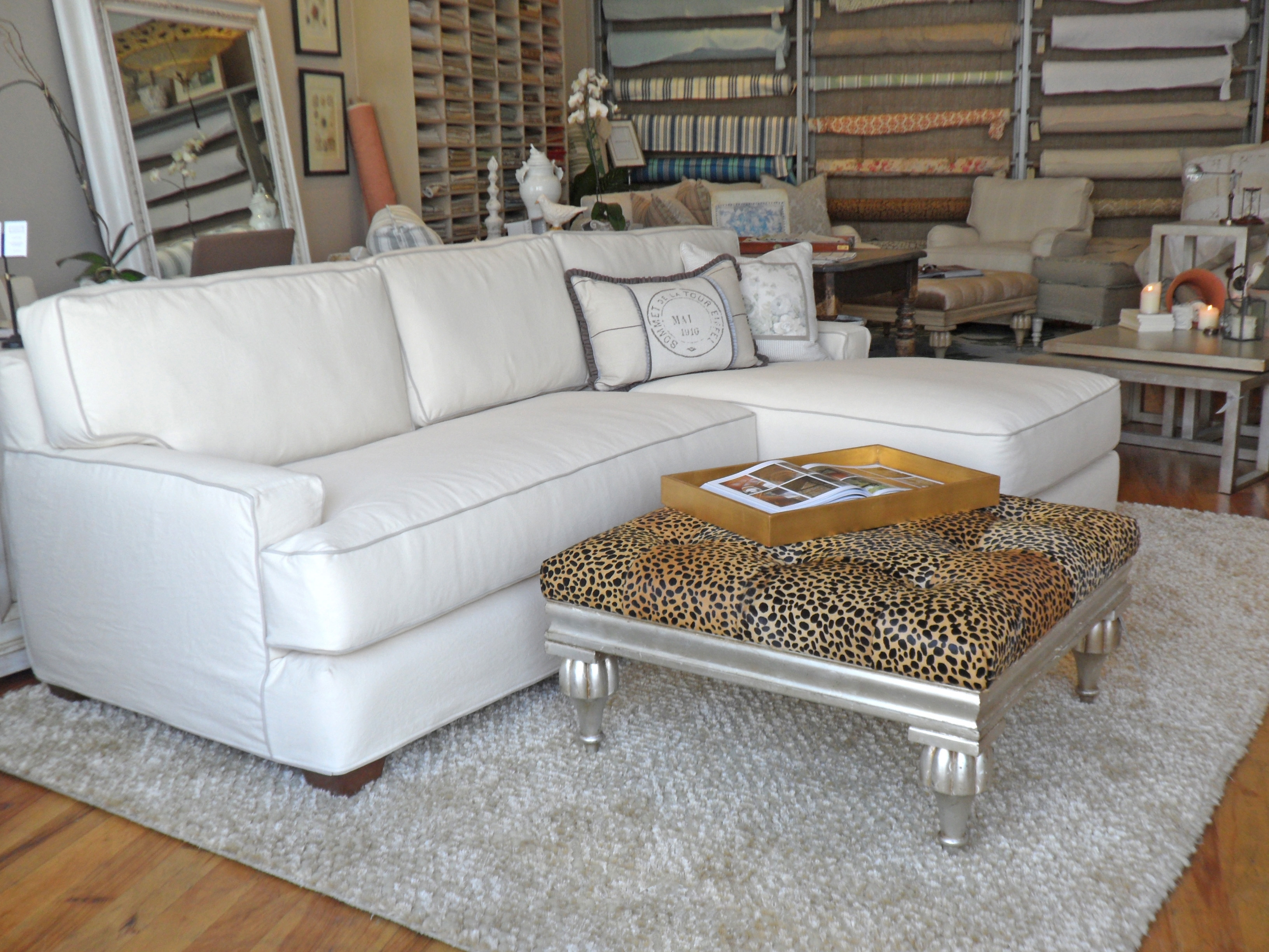 Quatrine White Slipcovered New Yorker Chaise Sectional | Sectionals in Quatrine Sectional Sofas