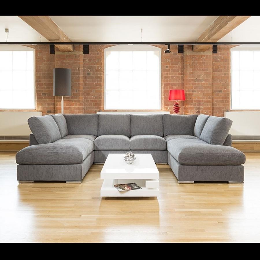 Quatropi Large Sofa Set Settee Corner Group U Shape Grey 3.3 X (View 3 of 10)