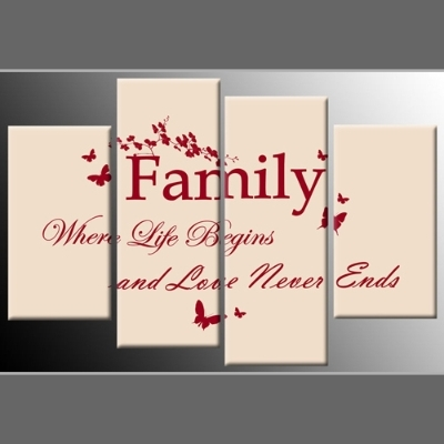 Quote Red On Cream 4-Panel Canvas Wall Art 40 Inch 101Cm pertaining to Canvas Wall Art Family Quotes