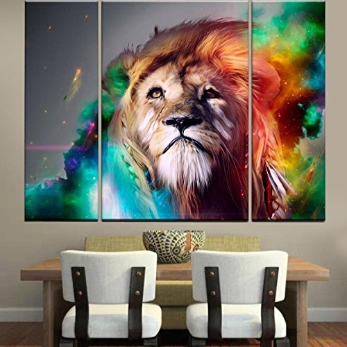 Rain Queen Modern Abstract Art Colorful Lion Oil Paintings On Intended For Abstract Lion Wall Art (Image 15 of 15)