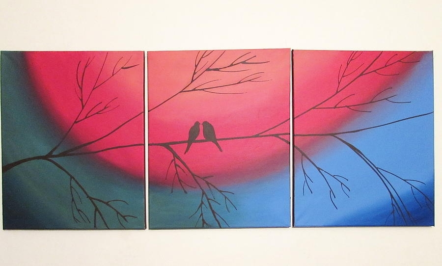 Rainbow Love Bird Landscape Abstract Bird Painting Triptych In Rainbow Canvas Wall Art (Photo 14 of 15)