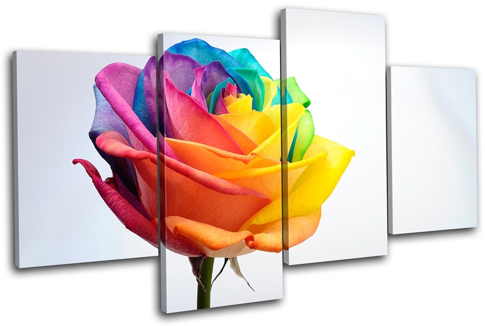 Rainbow Rose Floral Multi Canvas Wall Art Picture Print Va | Ebay Throughout Rainbow Canvas Wall Art (Image 9 of 15)