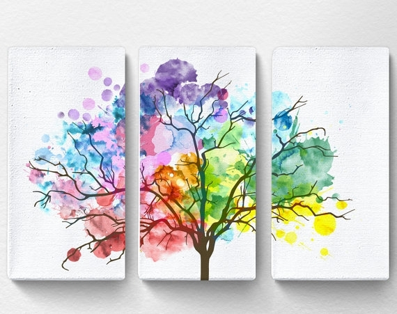 Rainbow Watercolor Tree Canvas Tree Canvas Art Nature Canvas Regarding Canvas Wall Art Of Trees (View 2 of 15)