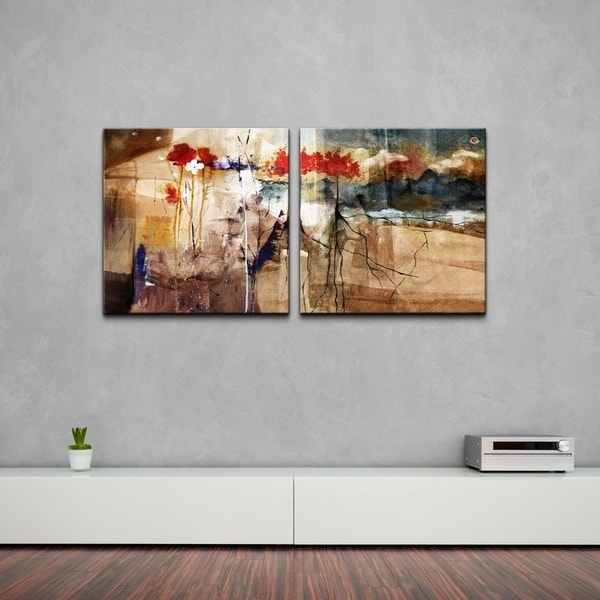 Ready2Hangart 'floral' Oversized Abstract Canvas Wall Art (2 Piece With Overstock Abstract Wall Art (Image 13 of 15)