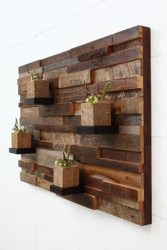 "Reclaimed Wood Wall Art 37""x24""x5"", Large Art, Floating Shelves Pertaining To Wooden Wall Accents (Image 7 of 15)"