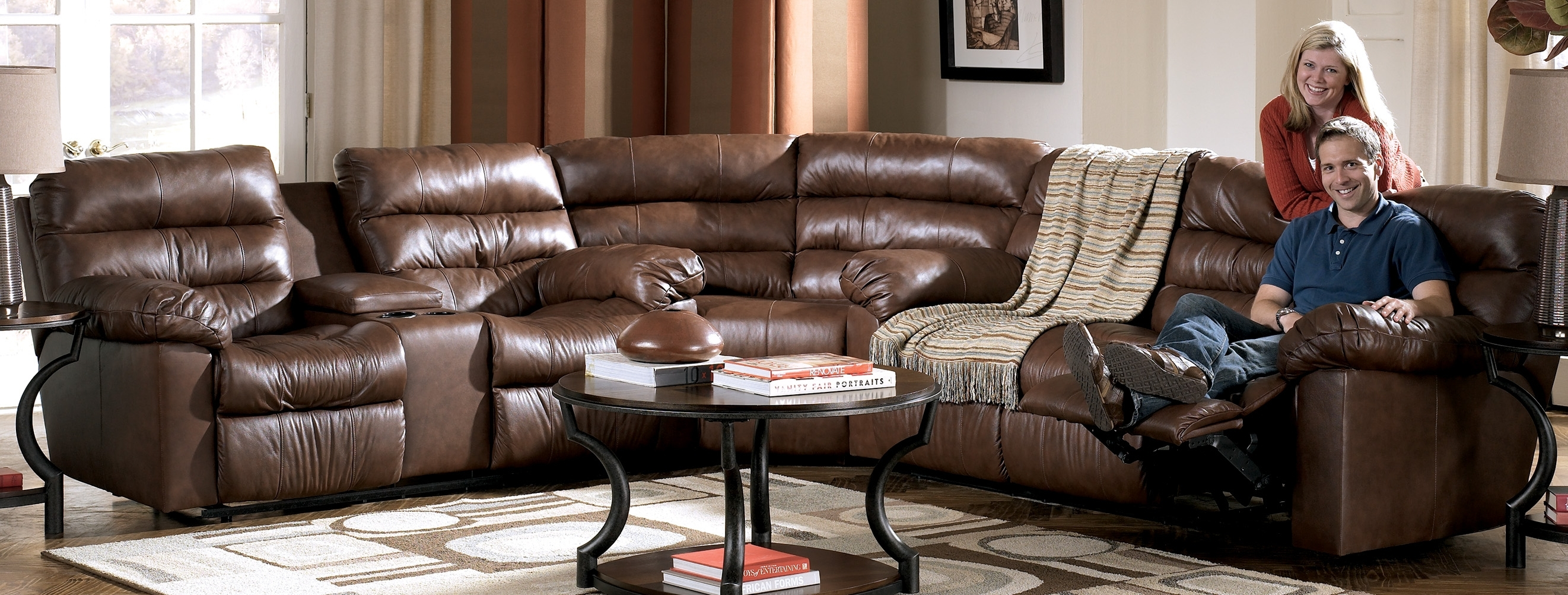 Reclining Leather Sectional Sofa With 4 Recliners And A Console In Sectional Sofas With Consoles (Image 5 of 10)