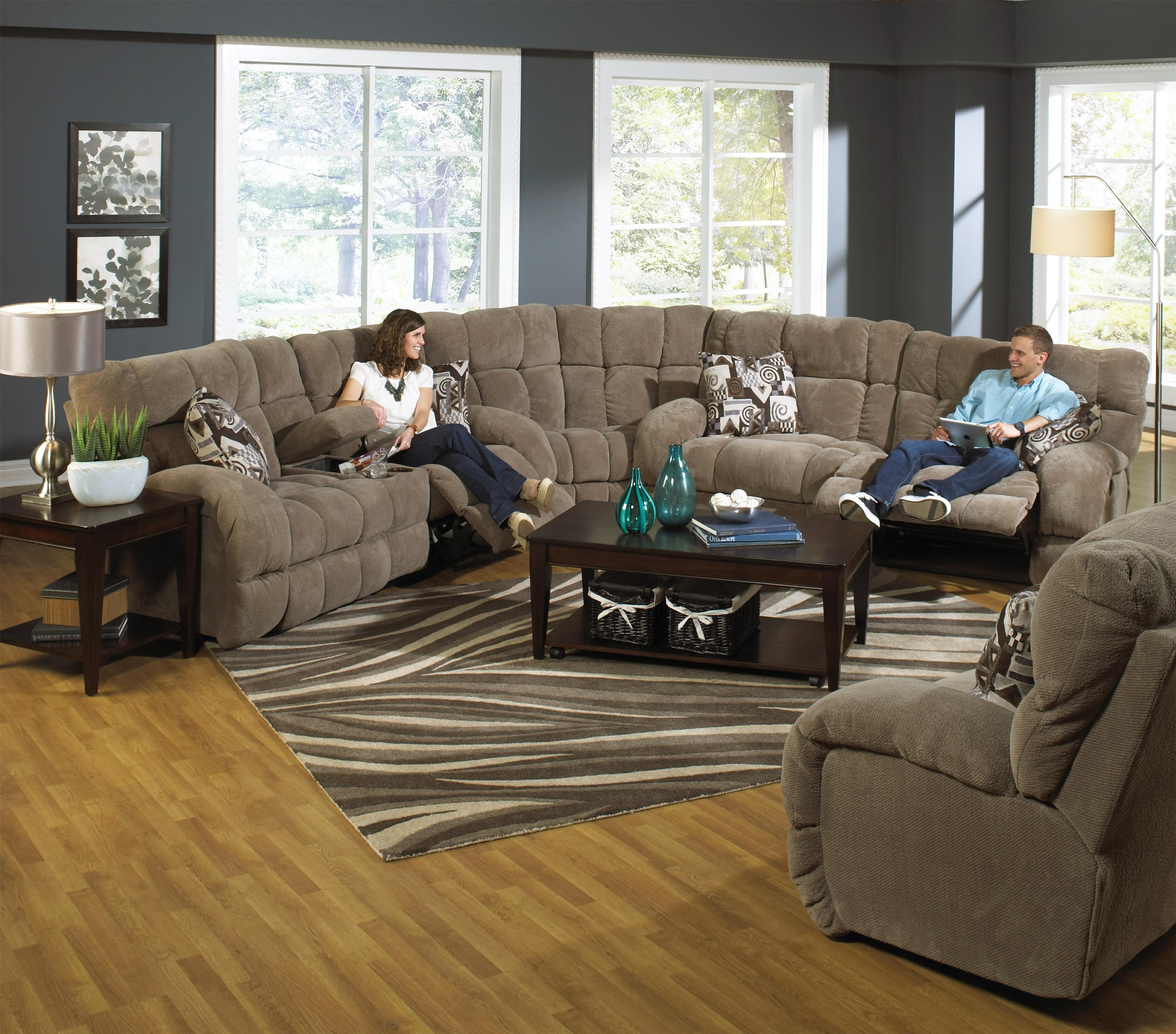 Reclining Sectional Sofa With Cup Holderscatnapper | Wolf And With Sectional Sofas With Cup Holders (Image 5 of 10)
