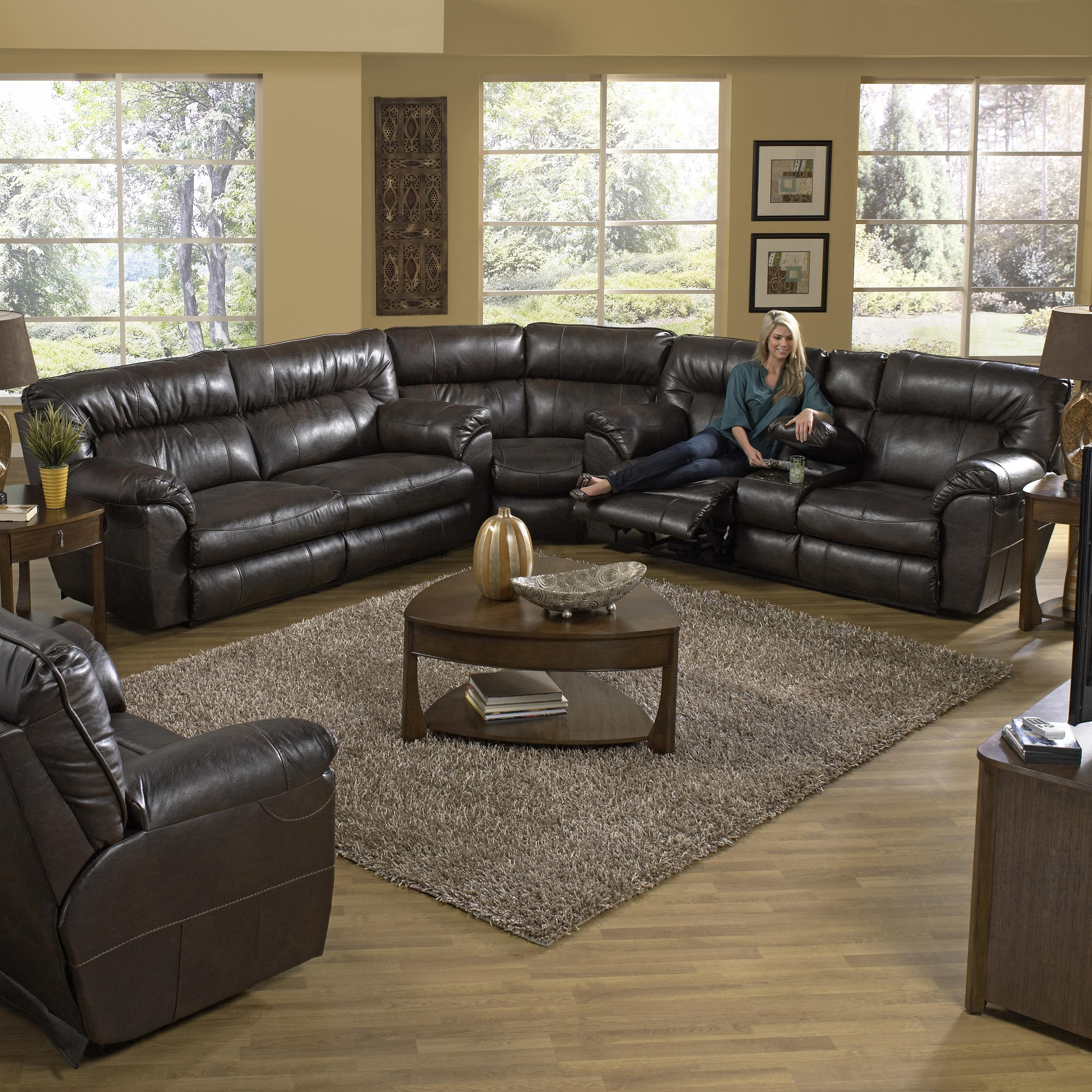 Reclining Sectional Sofa With Right Consolecatnapper | Wolf And With Regard To Sectional Sofas With Consoles (Image 6 of 10)
