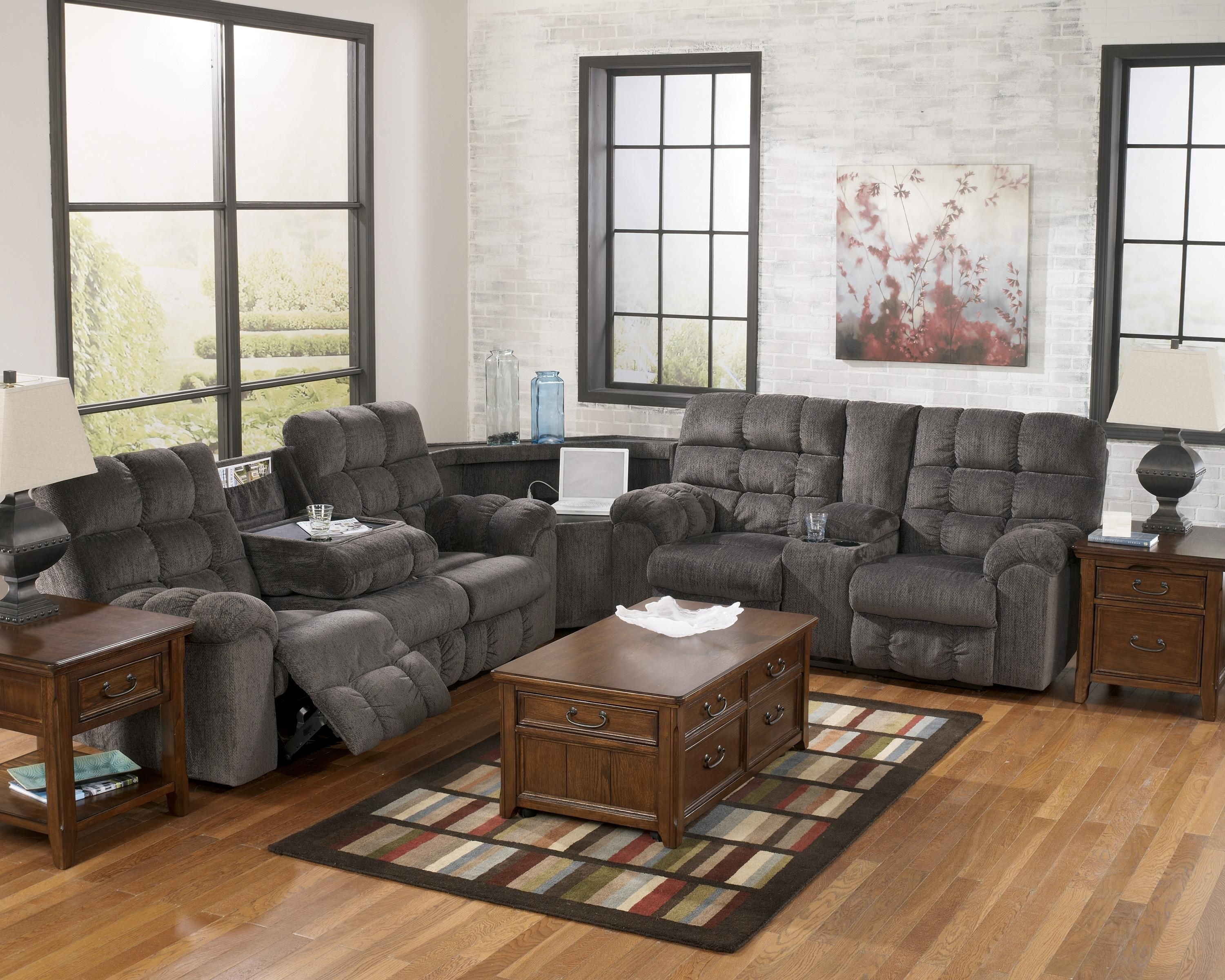 Reclining Sectional Sofa With Right Side Loveseat, Cup Holders And With Sectional Sofas With Cup Holders (Image 6 of 10)