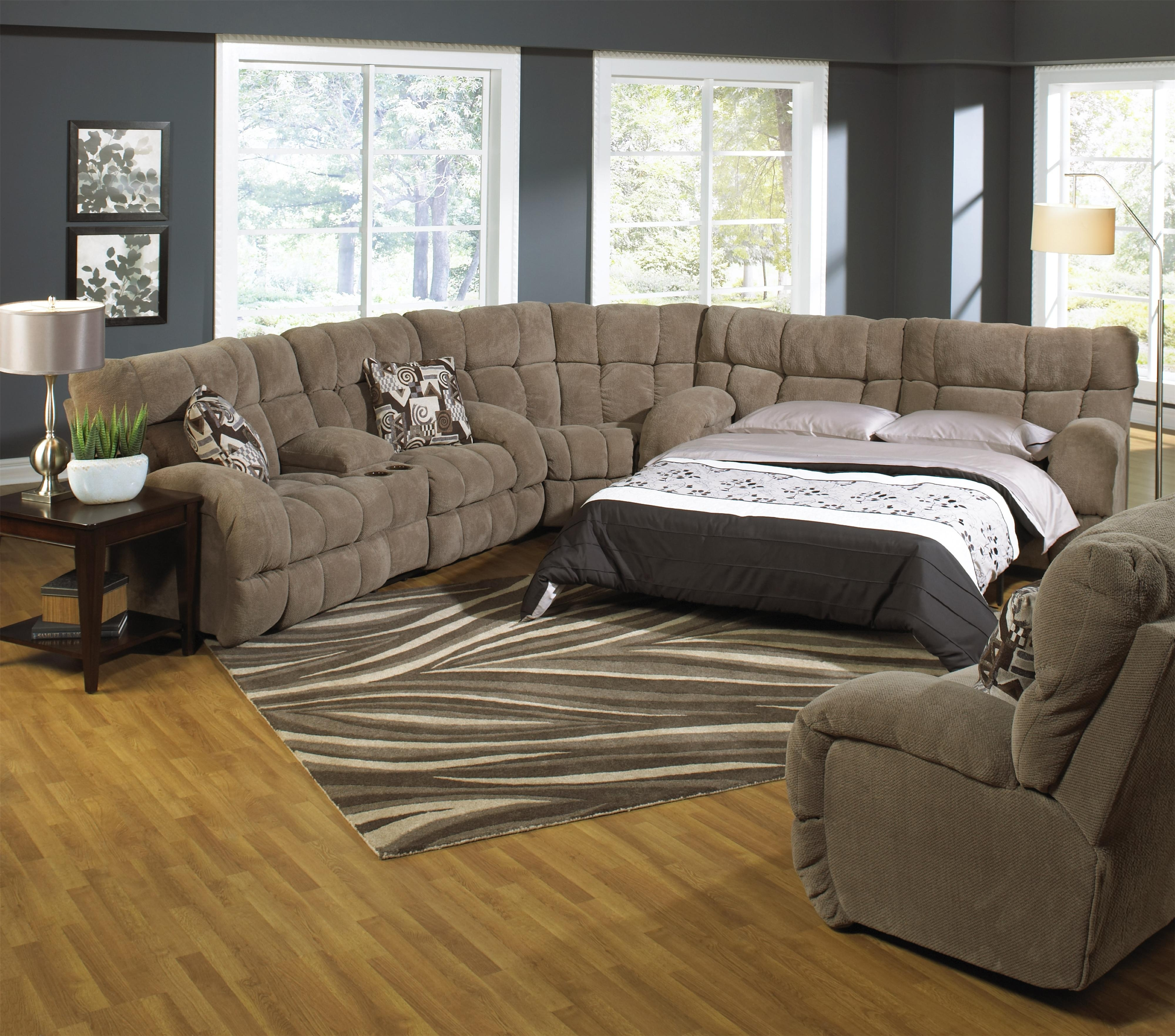 Reclining Sectional Sofa With Sofa Sleepercatnapper | Wolf And Throughout Sectional Sofas With Recliners (Image 8 of 10)