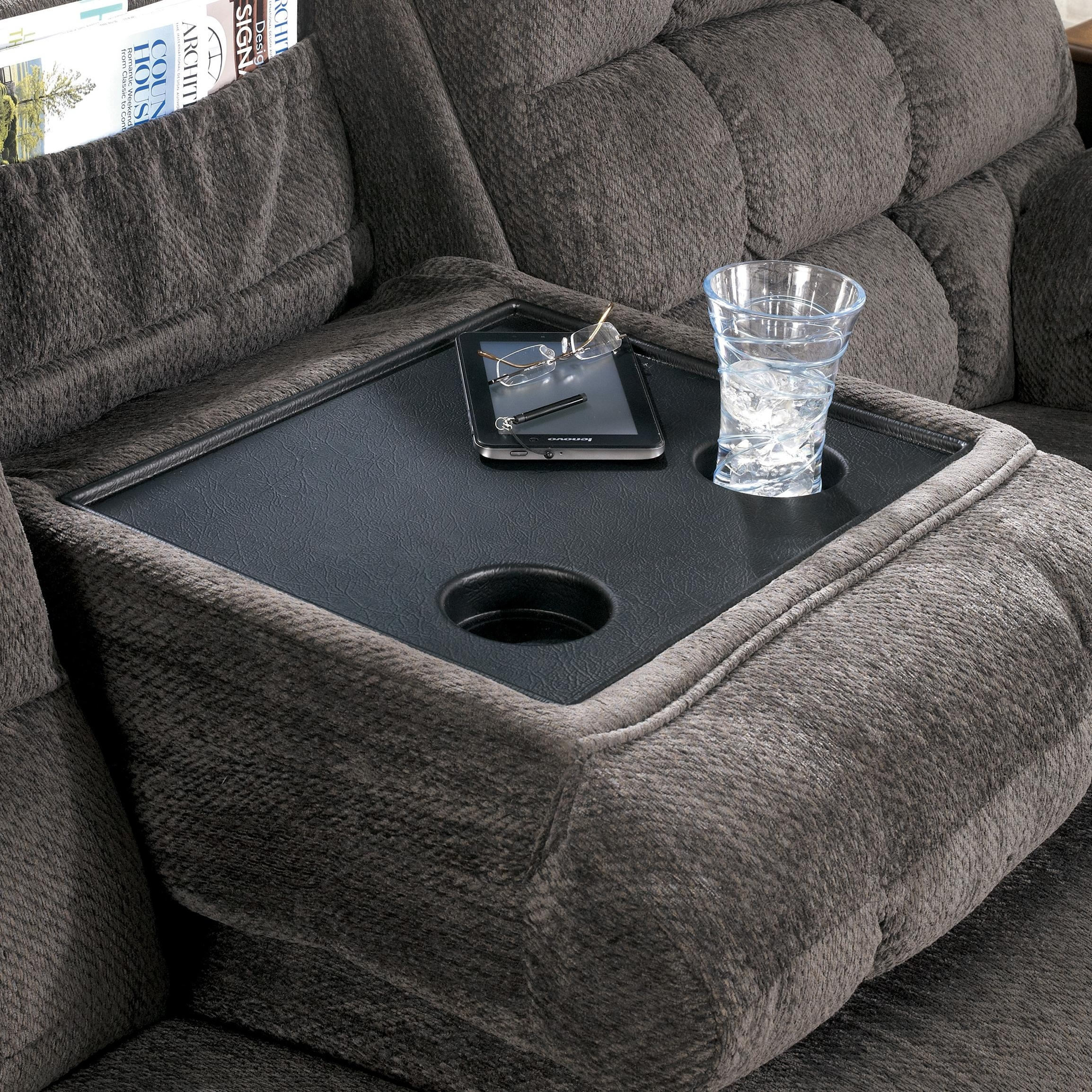 Reclining Sofa With Drop Down Table And Cup Holderssignature Regarding Sofas With Drink Tables (View 9 of 10)