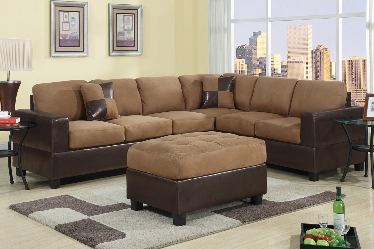 Red 2 Piece Sectional In Leather And Suede Sectional Sofas (Image 7 of 10)