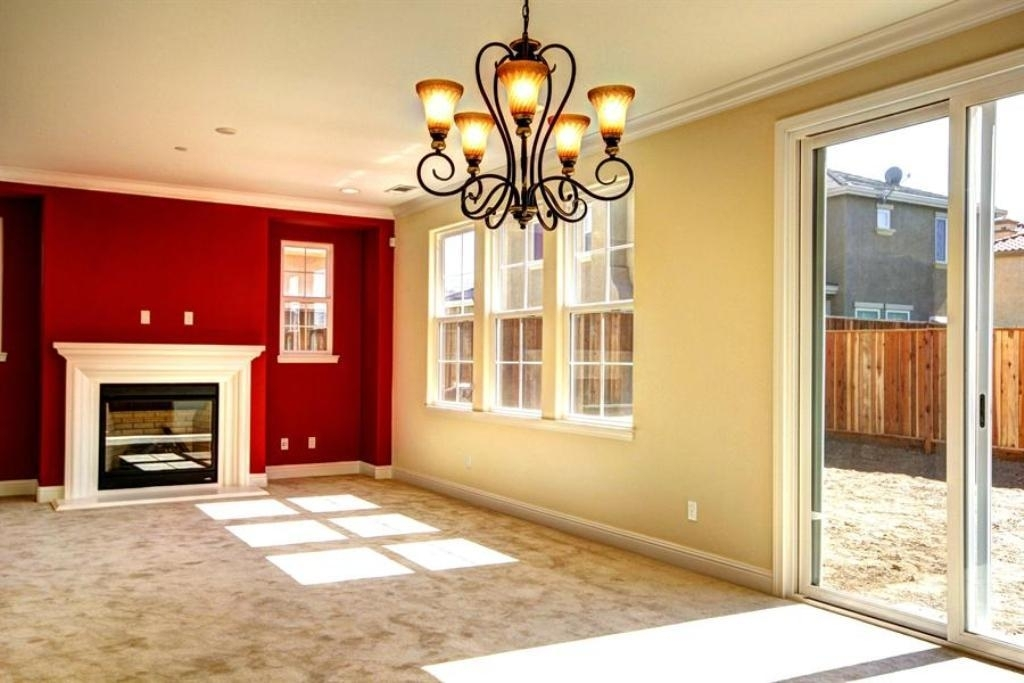Red Accent Wall Color With Pale Yellow Wall Color Using Sliding With Regard To Wall Accents Color Combinations (View 11 of 15)