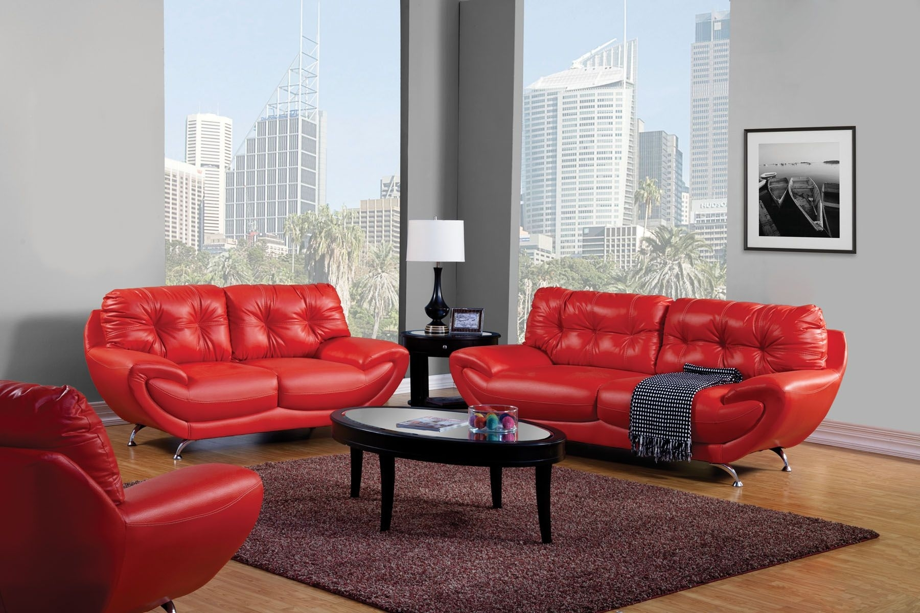 Red And Black Leather Living Room Furniture | Leather Living Rooms Regarding Red Leather Couches And Loveseats (Image 4 of 10)