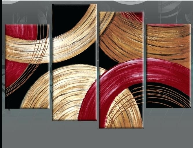 Red Artwork For Living Room Circles Gold Beige And Red Abstract In Red Canvas Wall Art (Image 11 of 15)