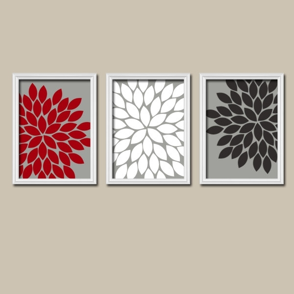 Red Black Gray Wall Art Canvas Or Prints Bedroom Pictures Within Vintage Bath Framed Art Prints Set Of (View 13 of 15)