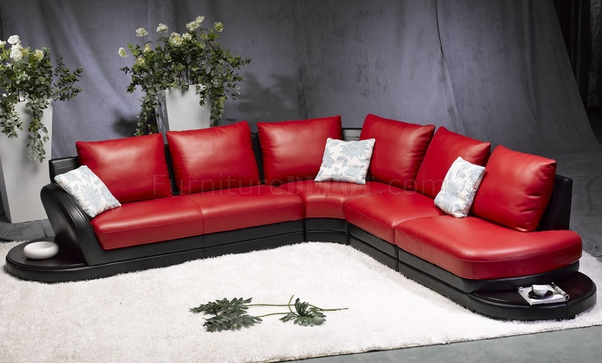 Red & Black Leather Modern Two Tone Sectional Sofa Regarding Red Black Sectional Sofas (Image 7 of 10)