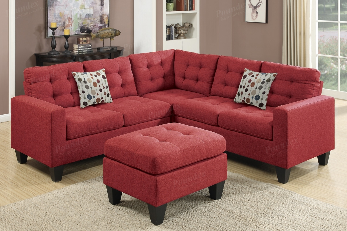 Red Fabric Sectional Sofa And Ottoman – Steal A Sofa Furniture Within Red Leather Sectional Sofas With Ottoman (Image 7 of 10)
