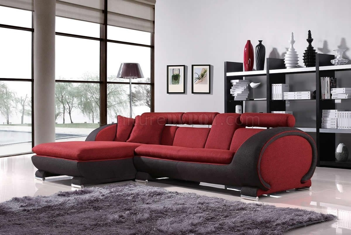 Red Fabric Two Tone Modern Sectional Sofa W/cup Holders In Sectional Sofas With Cup Holders (Image 7 of 10)