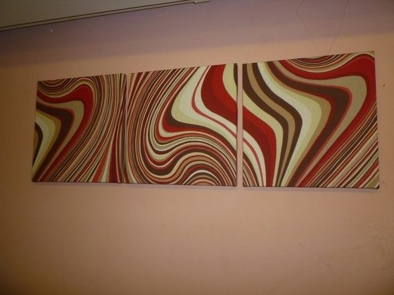 Red Fabric Wall Art Red Chocolate Brown Creamwickedwalls In Red Fabric Wall Art (View 4 of 15)