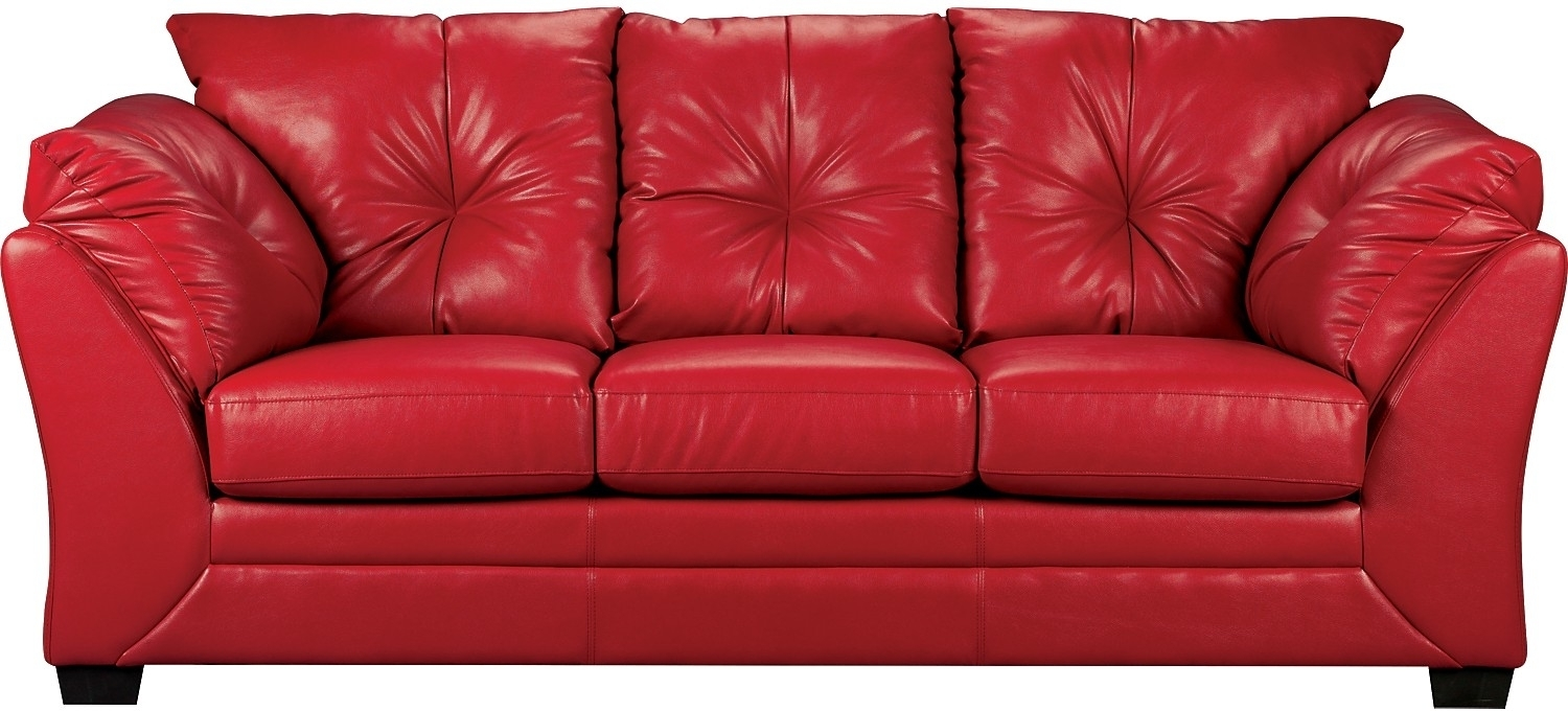 Red Faux Leather Sofa – Home And Textiles Inside The Brick Leather Sofas (View 5 of 10)