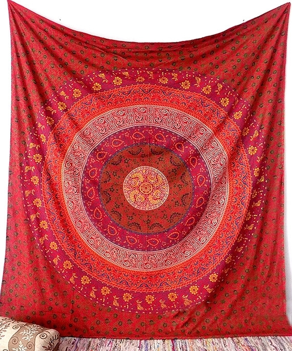 Red Floral Mandala Wall Tapestry Fabric Hippie Boho Bed Bedspread For Red Fabric Wall Art (Image 12 of 15)